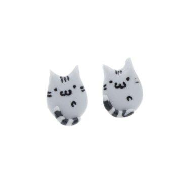 Pusheen kolczyki 1,3cm kotki koty kot ze stali chirurgicznej