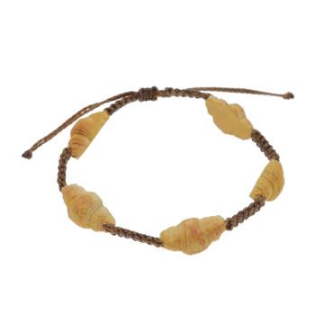 Bransoletka z rogalikiem regulowana sznurkowa makrama rogalik