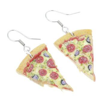 Pizza Pepperoni 2,8cm kolczyki wiszące Stal Chirurgiczna