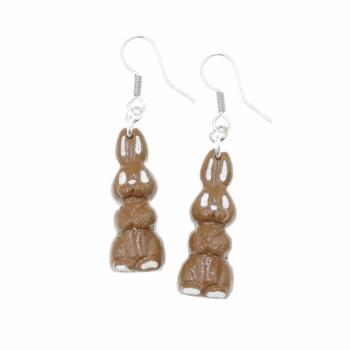 Kolczyki czekoladowe zajączki 2,6cm Stal Chirurgiczna Kolczyki z modeliny Wielkanocny zając