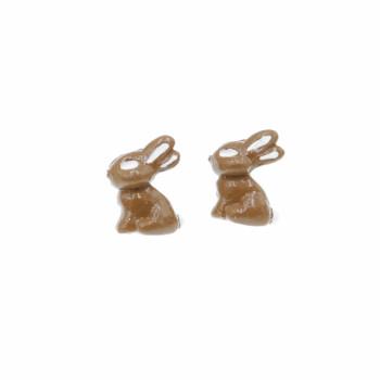 Kolczyki czekoladowe zajączki sztyfty 1,5cm Stal Chirurgiczna Kolczyki z modeliny Wielkanocny zając