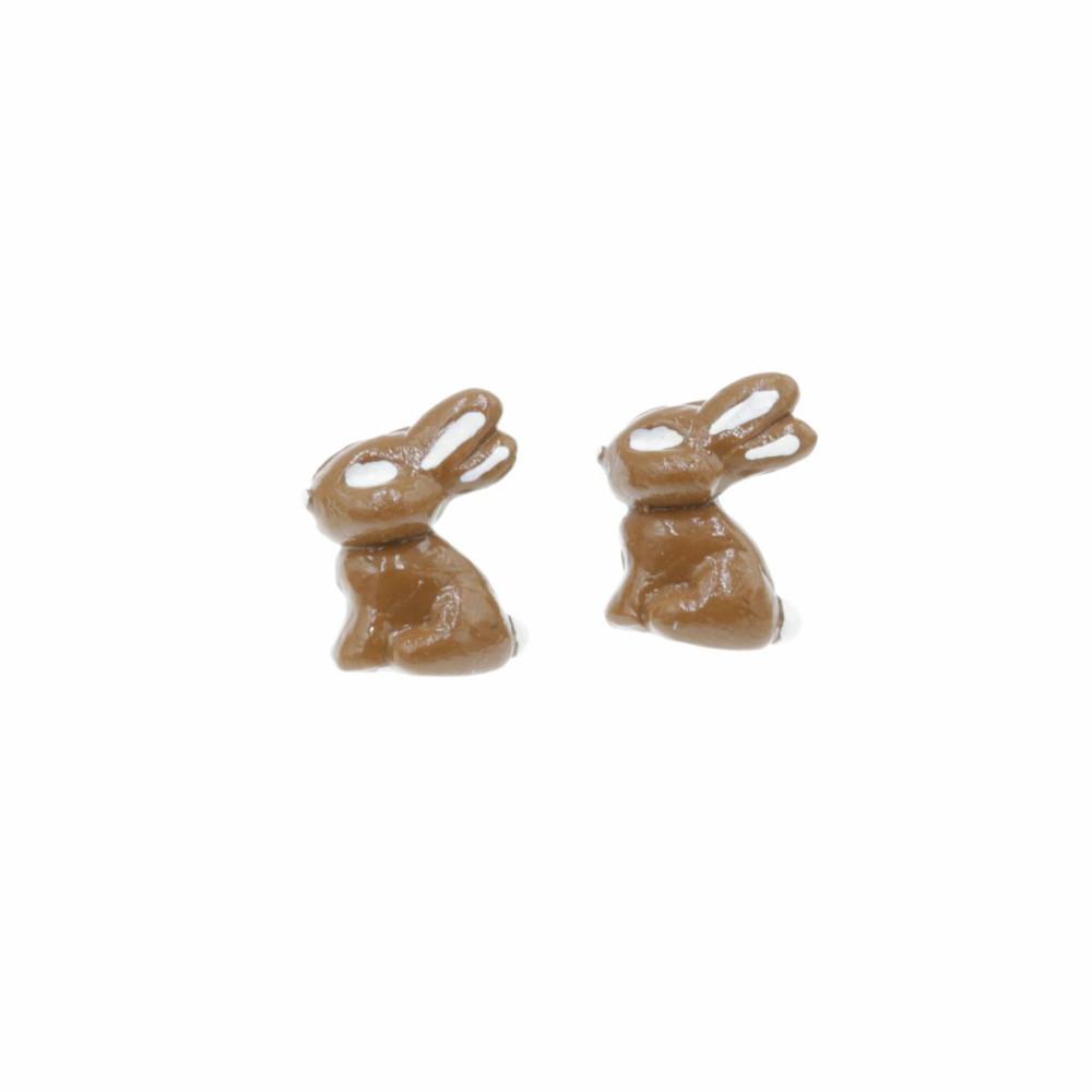 Kolczyki czekoladowe zajączki 1,5cm Stal Chirurgiczna Kolczyki z modeliny Wielkanocny zając