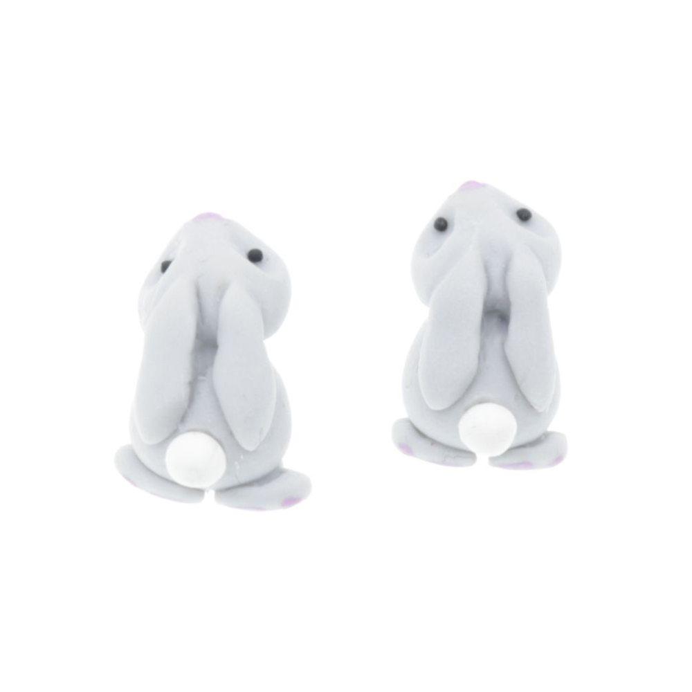Zajączki króliczki Stal Chirurgiczna Kolczyki z modeliny