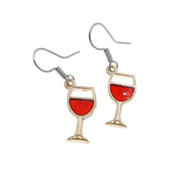 Kolczyki kieliszki wino - kolczyki wiszące kielich wina