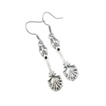 Łyżka, łyżeczki, łyżeczka - kolczyki wiszące kolor srebrny