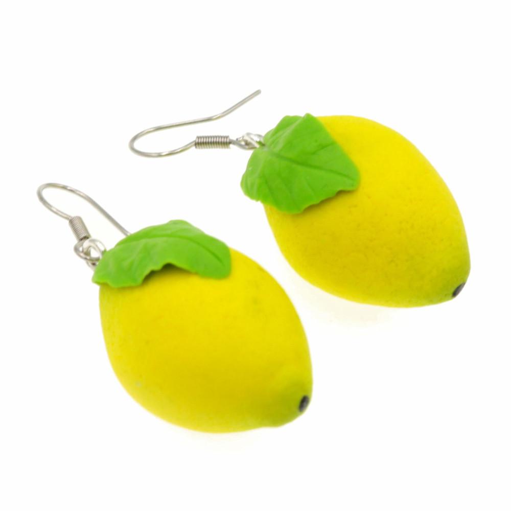 Cytryny małe 2,8cm Cytryna kolczyki wiszące